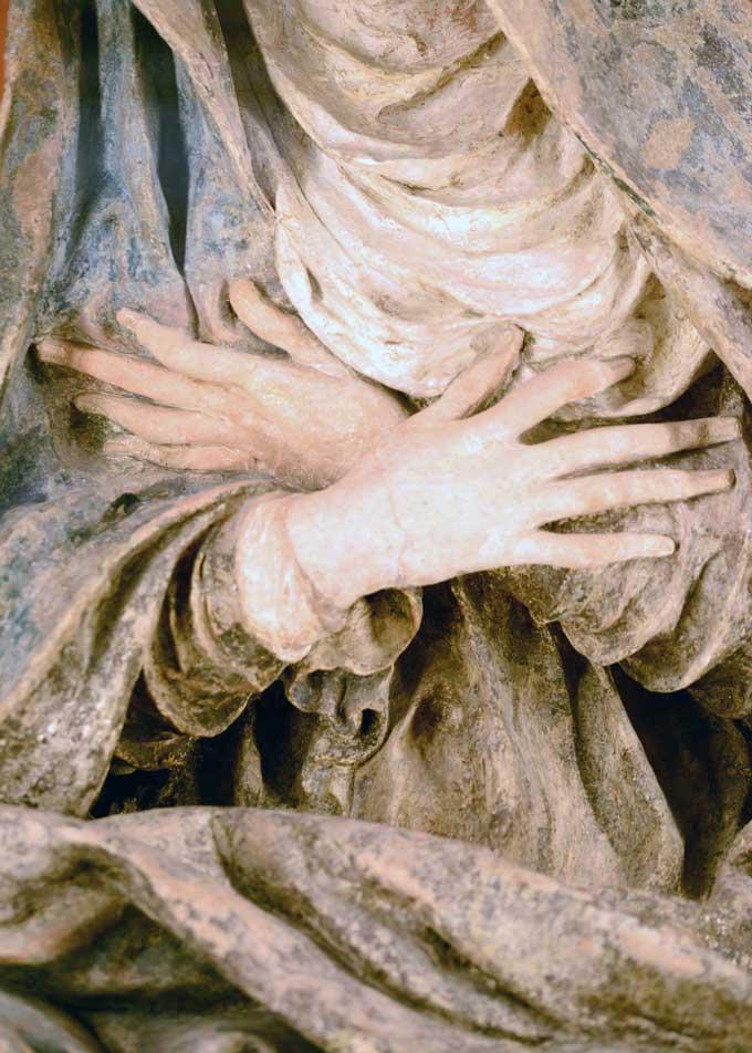 La Vierge de Pitié par Germain Pilon, détail des mains © Priscilla Telmon